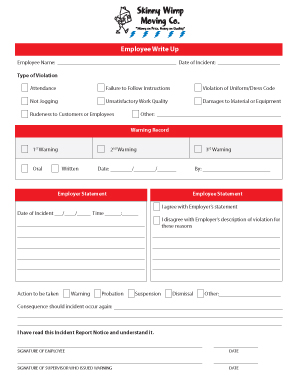 Employee Write Up / Warning Form