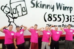 All of our Skinny Wimp Movers are wearing pink in October to show our support of Breast Cancer Awareness Month.